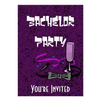 Invitación de la púrpura del fiesta de macho del s