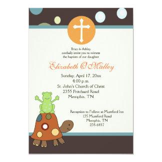 Invitación de la rana y de la tortuga del esmero invitación 12,7 x 17,8 cm