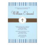 Invitación de la raya azul del bautizo - muchacho