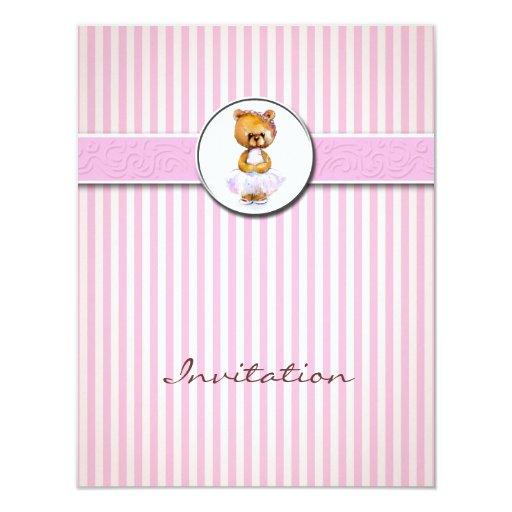 Invitación de la raya del caramelo del rosa del invitación 10,8 x 13,9 cm