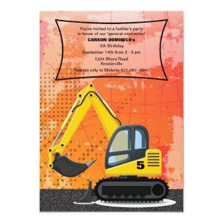 Invitación de la retroexcavadora del constructor