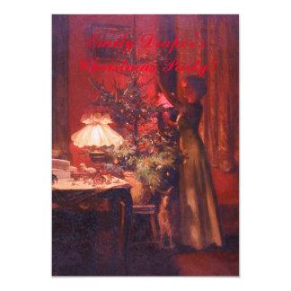 Invitación de la señora y del árbol de navidad del invitación 12,7 x 17,8 cm