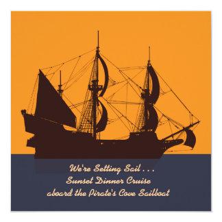 Invitación de la silueta del barco pirata invitación 13,3 cm x 13,3cm