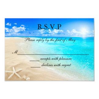 Invitación de la tarjeta de RSVP del boda de playa