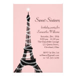 Invitación de la torre Eiffel del dulce dieciséis