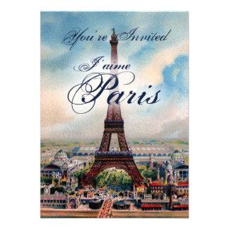 Invitación de la torre Eiffel del vintage