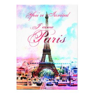 Invitación de la torre Eiffel del vintage del arte