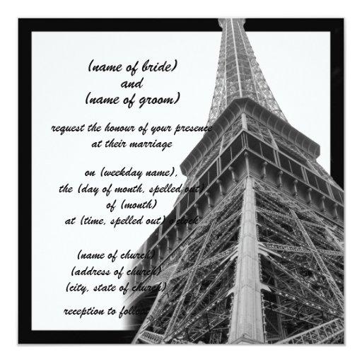invitación de la torre Eiffel ii Invitación 13,3 Cm X 13,3cm