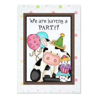 Invitación de la vaca del cumpleaños invitación 12,7 x 17,8 cm