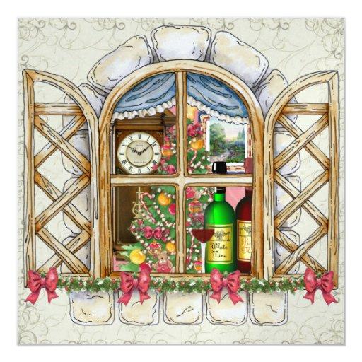 Invitación de la ventana de la cabaña del navidad