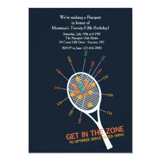 Invitación de la zona del servicio del tenis invitación 12,7 x 17,8 cm