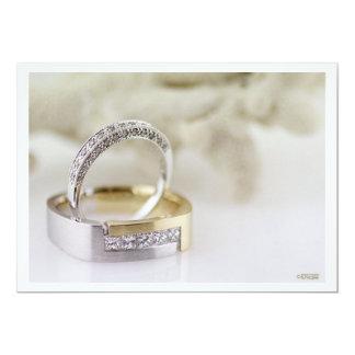 Invitación de las alianzas de boda del diamante invitación 12,7 x 17,8 cm