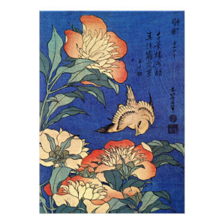 Invitación de las flores de Hokusai