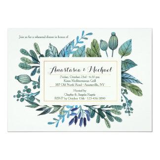 Invitación de las hojas y de las bayas del azul