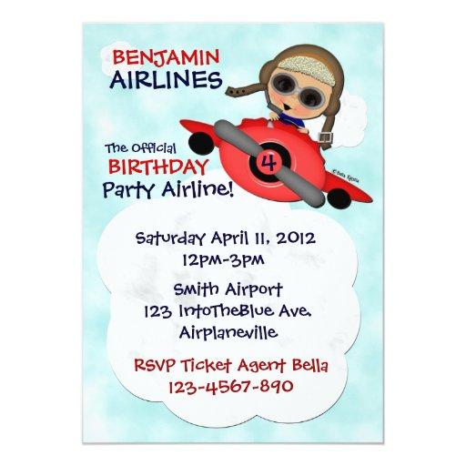 Invitación de las líneas aéreas de la fiesta de