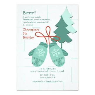 Invitación de las manoplas del invierno invitación 12,7 x 17,8 cm