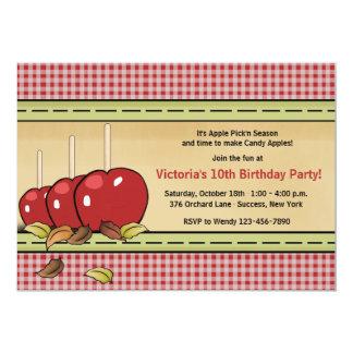 Invitación de las manzanas de caramelo invitación 12,7 x 17,8 cm