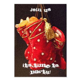 Invitación de las medias del navidad invitación 12,7 x 17,8 cm