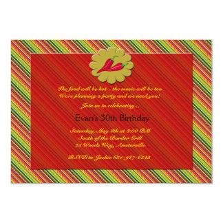 Invitación de las pimientas de chile invitación 12,7 x 17,8 cm