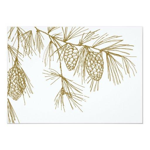 Invitación de las ramas del pino invitación 12,7 x 17,8 cm