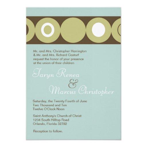 invitación de lino azul del boda del círculo retro