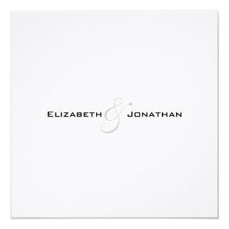 Invitación de lino blanco y negro moderna del boda