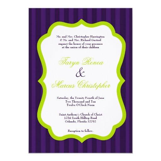 invitación de lino del boda de la verde lima 5x7 y