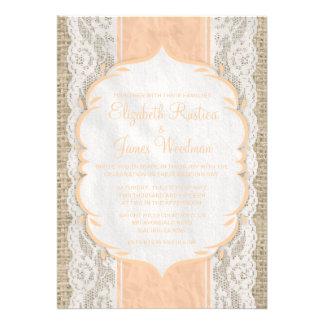Invitación de lino del boda del cordón de la arpil