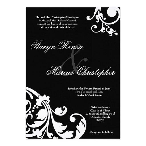 invitación de lino floral blanca negra del boda invitación 12,7 x 17,8 cm