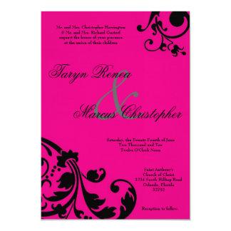 invitación de lino floral del boda del negro de