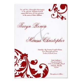 invitación de lino floral del boda del rojo