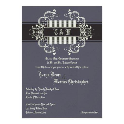 invitación de lino gris del boda del asunto de
