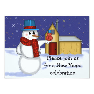 Invitación de los Años Nuevos del muñeco de nieve