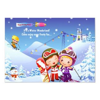 Invitación de los bebés del esquí de la nieve