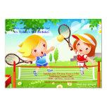 Invitación de los bebés del tenis