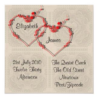 Invitación de los corazones del capullo de rosa