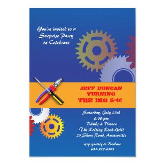 Invitación de los engranajes y de las herramientas