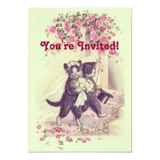 Invitación de los gatos del boda del vintage