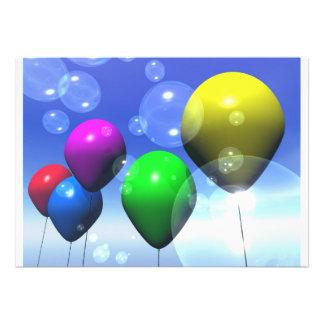 Invitación de los globos y de las burbujas del fie