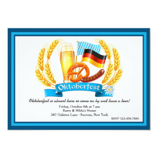 Invitación de los ingredientes de Oktoberfest Invitación 12,7 X 17,8 Cm