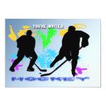 Invitación de los jugadores de hockey invitación 12,7 x 17,8 cm