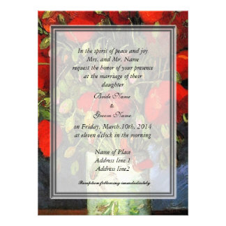 Invitación de los padres de la novia. Florero con