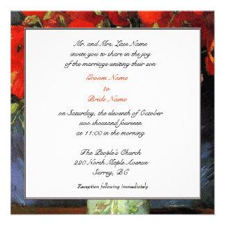 Invitación de los padres del novio. Florero con