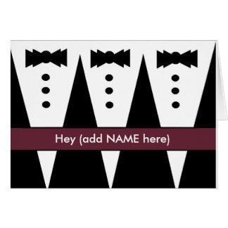 Invitación de los padrinos de boda con tres smokin tarjetón