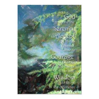 Invitación de los pinos del rezo de la serenidad invitación 12,7 x 17,8 cm