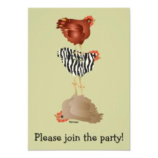 Invitación de los pollos del acróbata (fiesta de invitación 12,7 x 17,8 cm