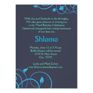 Invitación de los remolinos del azul y del verde invitación 13,9 x 19,0 cm