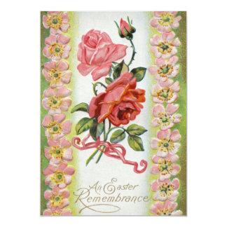 Invitación de los rosas de Pascua del vintage