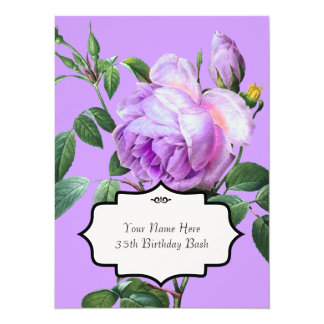 Invitación de los rosas del vintage de la lavanda invitación 13,9 x 19,0 cm