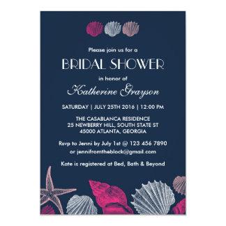Invitación de los Seashells de los azules marinos Invitación 12,7 X 17,8 Cm